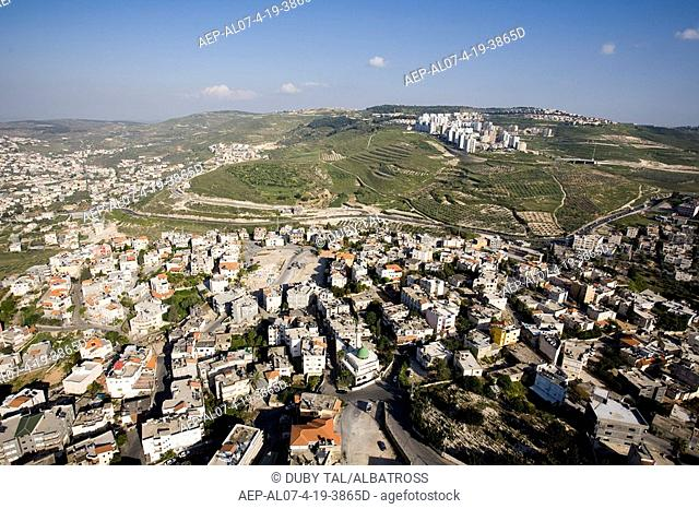 Aerial photograph of the arab village of Mashhad in the Lower Galilee