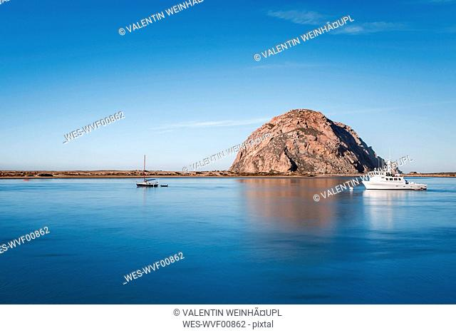 USA, California, Morro Bay, ship in the port of Morror Bay
