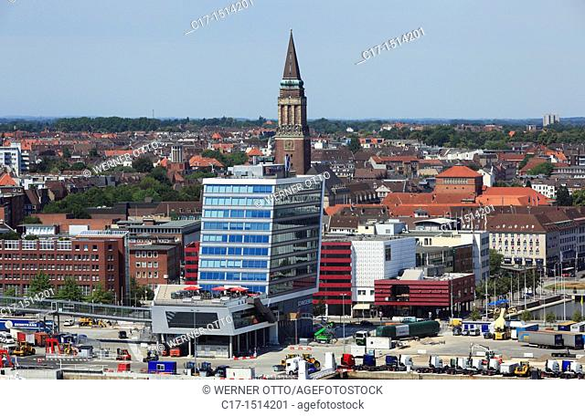 Germany, Kiel, Kiel Fjord, Baltic Sea, Schleswig-Holstein, panoramic view across the Kiel harbour to the city centre, New City Hall