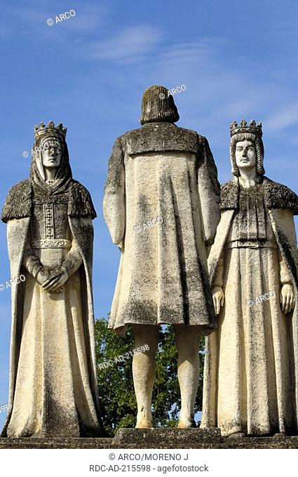 Statues of Queen Isabel, King Fernando and Christopher Columbus, gardens of Alcazar de los Reyes Cristianos, Cordoba, Andalusia, Spain