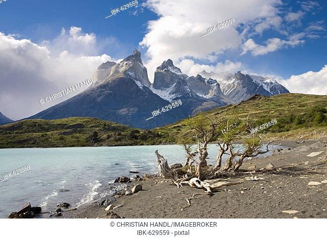 Los Cuernos peaks and Lago Nordenskjoeld, Torres del Paine National Park, Patagonia, Chile, South America