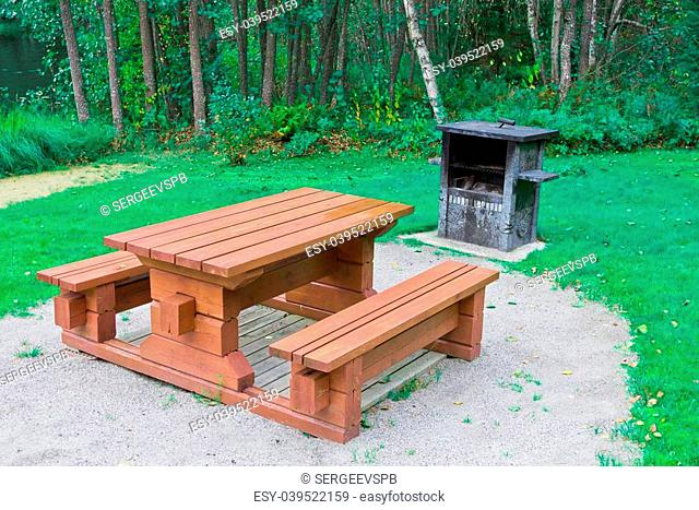 garden wooden table with benches