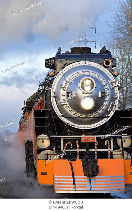 Steam locomotive, Oaks Bottom Wildlife Refuge, Portland, Oregon, USA