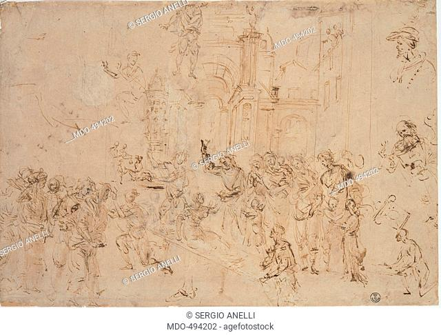 The Rasing of Drusiana, by Lippi Filippino, 15th Century, pen and brown watercolor, traced of black pencil. Italy, Tuscany, Florence, Uffizi Gallery