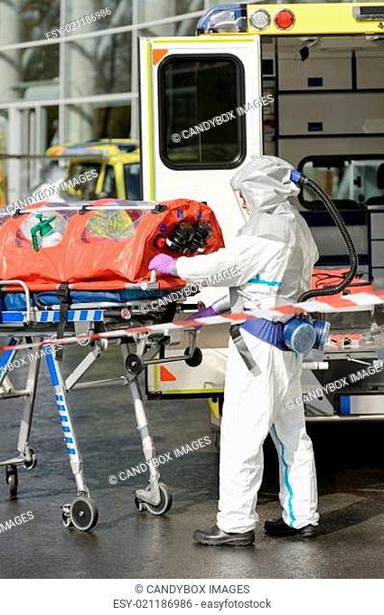 HAZMAT medical team member with stretcher