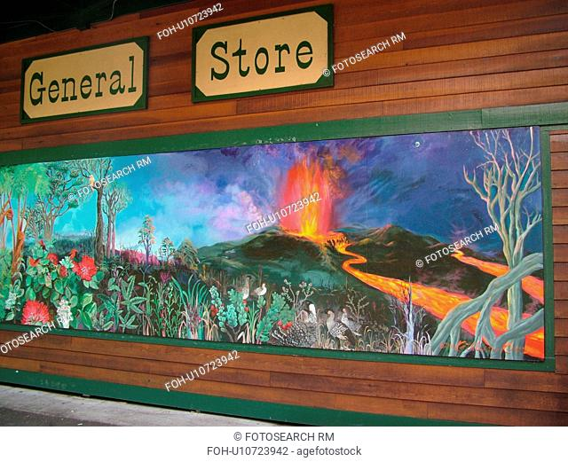 Big Island, Island of Hawaii, HI, Hawaii, Volcano Village, Kilauea General Store, wall mural