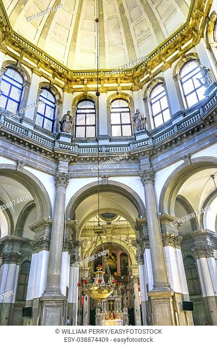 Santa Maria della Salute Church Basilica Dome Venice Italy. Competed in 1681 dedicated to our Lady of Health because of the 1630 outbreak of plague