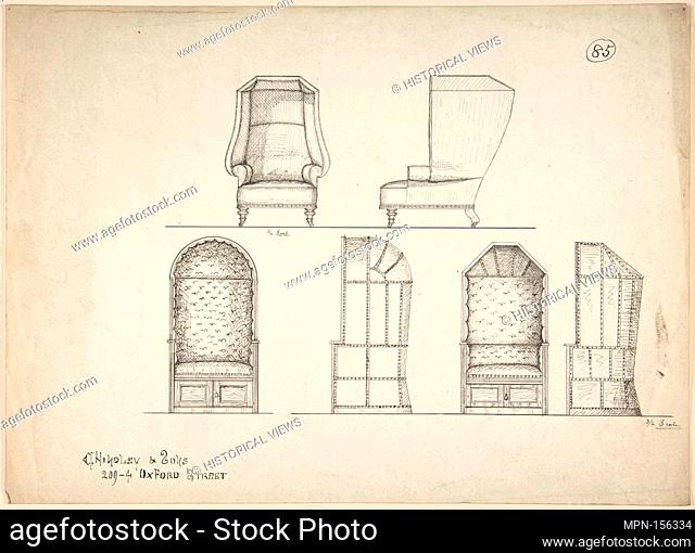 Designs for Chair and Window Seats. Artist: Charles Hindley and Sons (British, London 1841-1917 London); Date: 1841-84; Medium: Pen and black ink; Dimensions:...