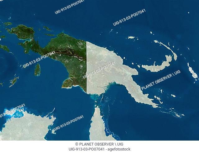 Satellite view of Papua New Guinea, Indonesia (with country boundaries and mask). This image was compiled from data acquired by Landsat satellites