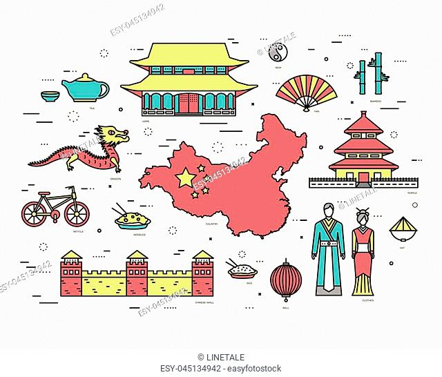 Country China travel vacation guide of goods, places in thin lines style design. Set of architecture, fashion, people, nature background concept