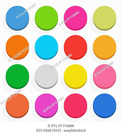 16 blank icon in flat style. ircle 3D button with shadow on white background. Blue, red, yellow, gray, green, pink, orange, brown, violet colors