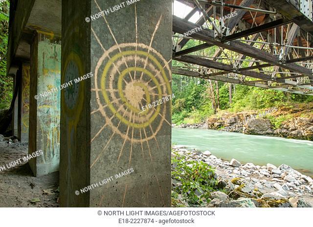 USA, Washington, Randle. Iron Creek in the Gifford Pinchot National Forest. Concrete bridge support column adorned with artistic graffiti