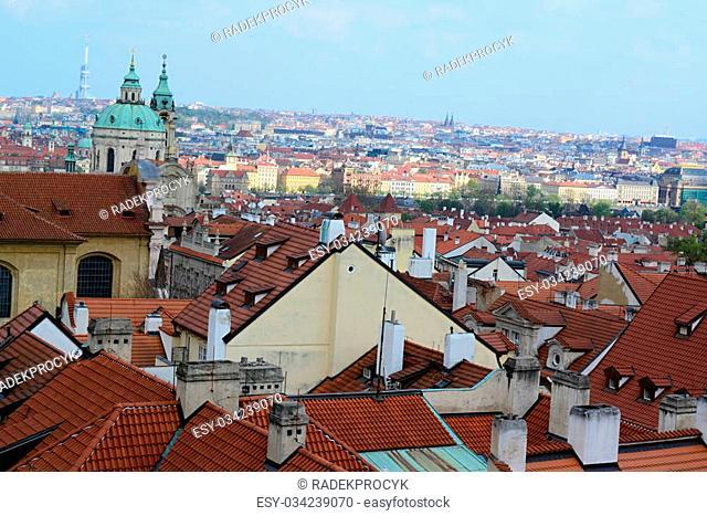 roofs from Prague castle in Prague city center