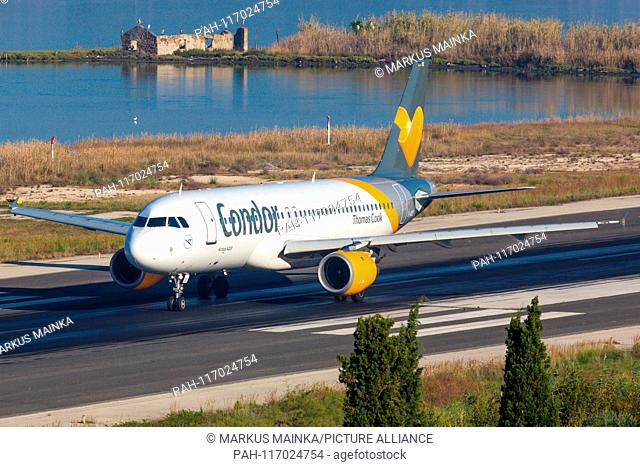 Corfu, Greece – 16. September 2017: Condor Airbus A320 at Corfu airport (CFU) in Greece. | usage worldwide. - Corfu/Greece