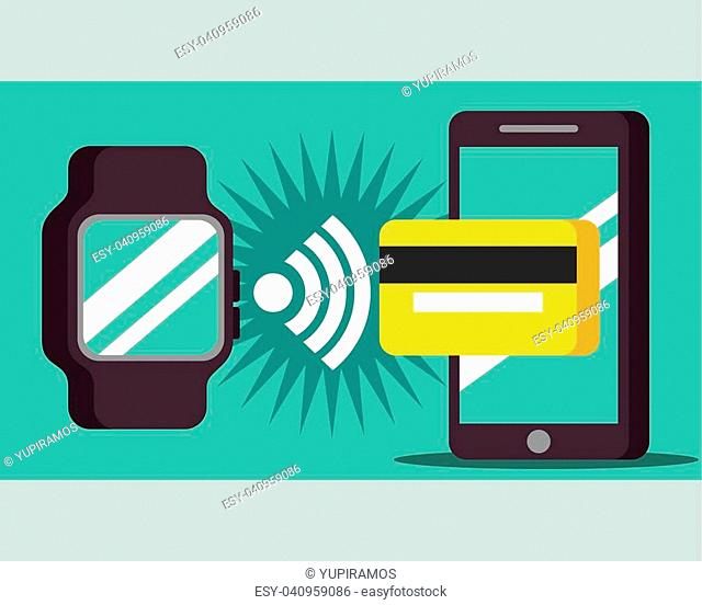 nfc payment technology wristwatch signal smartphone credit card vector illustration