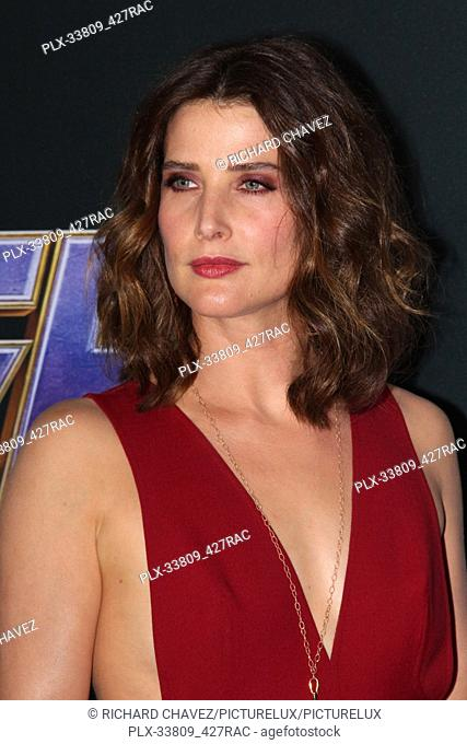 """Cobie Smulders at the Marvel Studios World Premiere of """"""""Avengers Endgame"""""""". Held at the Los Angeles Convention Center in Los Angeles, CA, April 22, 2019"""