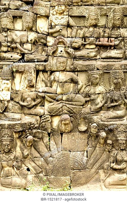 Figures of the Leper King Terrace in detail, Angkor Thom complex, Siem Reap, Cambodia, Southeast Asia