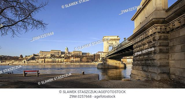 Morning at Chain Bridge across the Danube in Budapest, Hungary