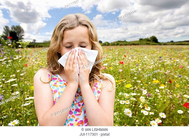 Girl Suffering From Hayfever Sneezing In Countryside Field