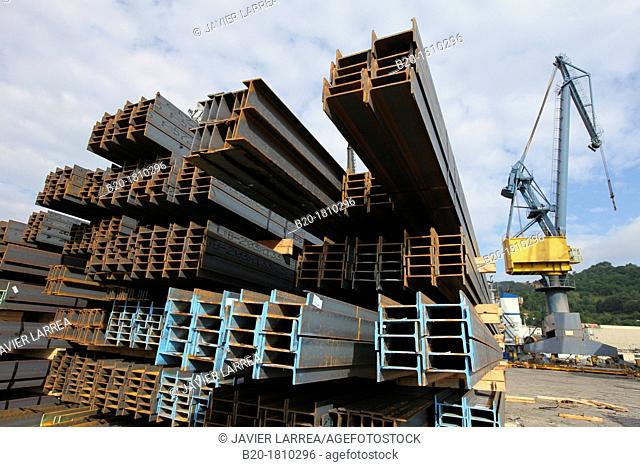 Siderurgical products, steel profiles, Pasajes Port, Gipuzkoa, Basque Country, Spain