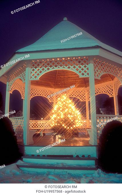 gazebo, Christmas tree, outdoor, decorations, holiday, snow, winter, The gazebo on the Green is decorated with a Christmas tree with white lights at night in...