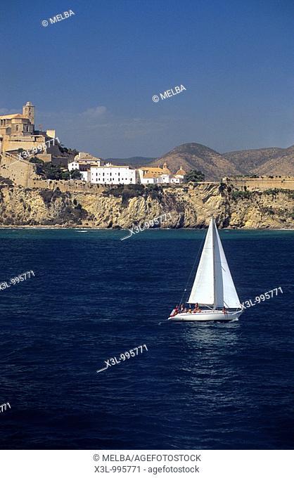 Sailing boat at port of Ibiza  Balearic islands  Spain