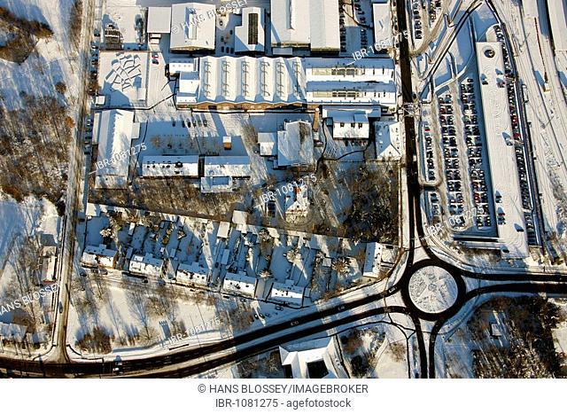 Aerial photo, roundabout, Concordiastrasse street, industrial museum, winter, Oberhausen, Ruhr Area, North Rhine-Westphalia, Germany, Europe