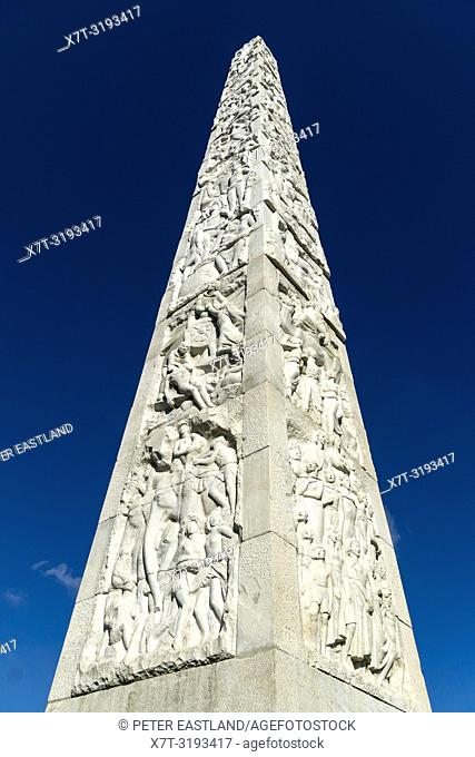 The Obelisk of Marconi in the Piazza Guglielmo Marconi, built for the Esposizione Universale Roma 1942. EUR, Rome, Italy