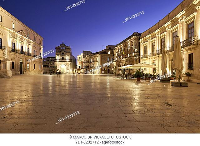 Santa Lucia Alla Badia church in the Piazza Duomo of Syracuse Ortygia Sicily Italy