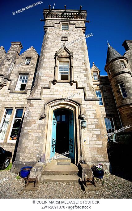 Entrance of Glengorm Castle (also called Castle Sorn), near Tobermory, Isle of Mull, Scotland, UK
