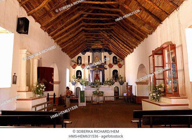 Chile, Antofagasta region, Altiplano, San Pedro de Atacama, altar of the church of San Pedro de Atacama