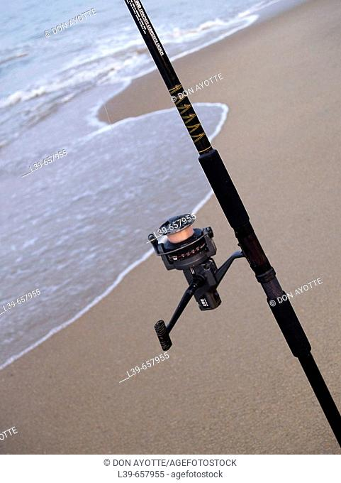 Rod and Reel on the Beach in Kill Devil Hills, NC, USA