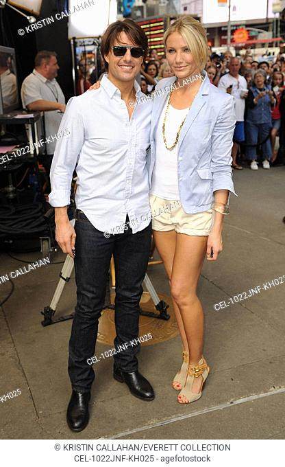 Tom Cruise, Cameron Diaz (wearing Elizabeth and James shorts and Chloe shoes) at talk show appearance for GOOD MORNING AMERICA (GMA) Celebrity Guests