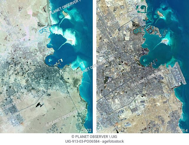Satellite view of Doha, Qatar in 2002 and 2014. This before and after image shows urban expansion over the years