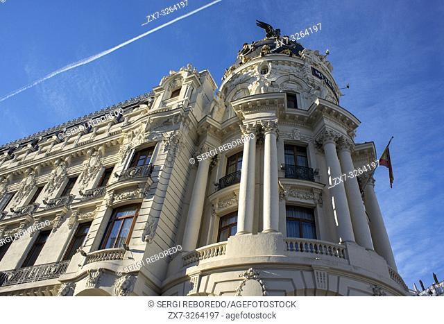 Madrid Metropolis Building, at the corner of Gran Via and calle de Alcala, designed in 1911 by the architects Jules and Raymond Février for the insurance...