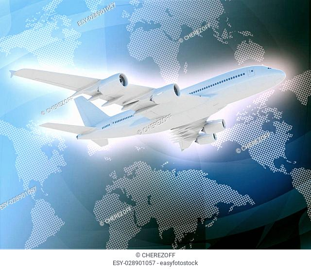 Jet on abstract blue background with world map