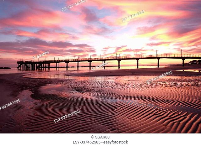 The wharf of Francavilla al Mare in a splendid sunrise