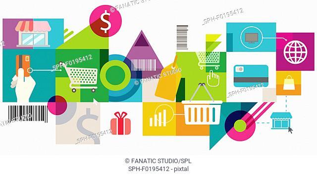 Illustration of online shopping