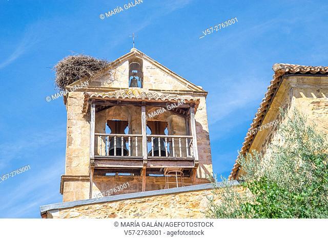 Steeple of the church. Montejo de la Sierra, Madrid province, Spain