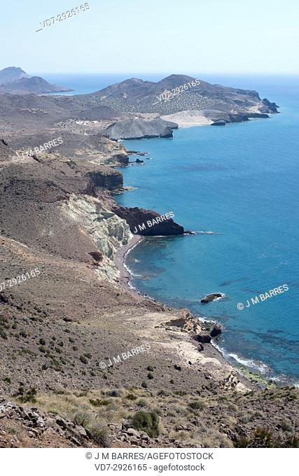Cabo de Gata coast view from the lighthouse. Cabo de Gata-Nijar Natural Park, Almeria province, Andalucia, Spain