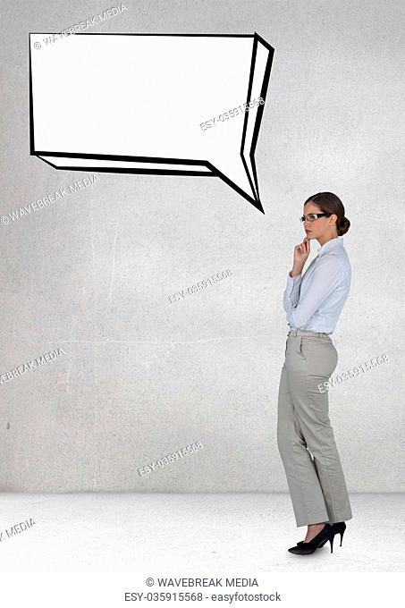 Business woman with speech bubble against grey background