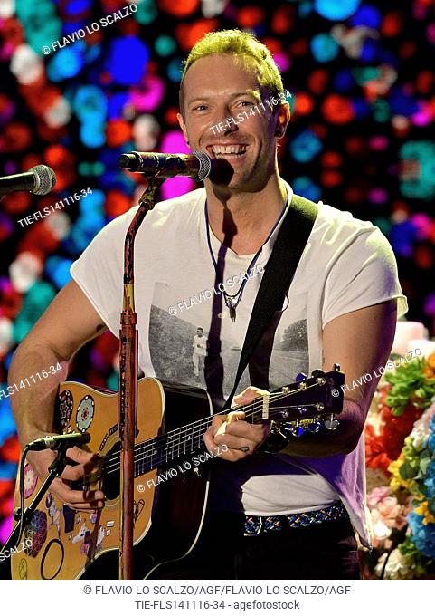 Chris Martin, frontman of Coldplay guest at tv programme Che tempo che fa, Milan, ITALY-13-11-2016