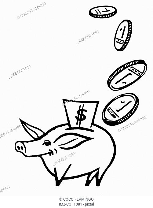 A black and white version of a small piggy bank being showered with coins