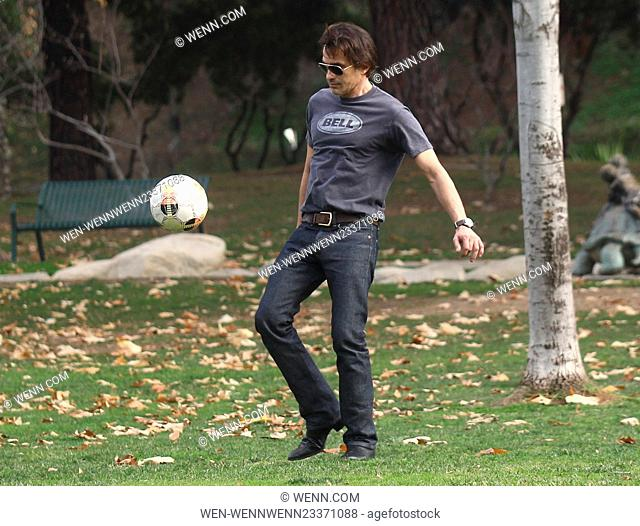 Olivier Martinez and his son play soccer at Coldwater Canyon Park in Beverly Hills Featuring: Olivier Martinez Where: Los Angeles, California