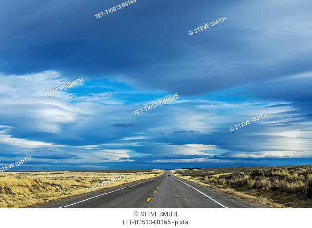 Highway under clouds