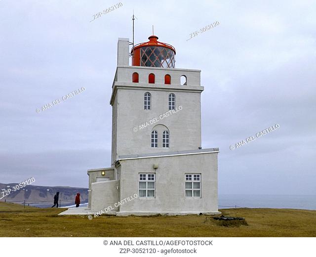 Dyrholaey lighthouse on the Dyrholaey peninsula in Iceland