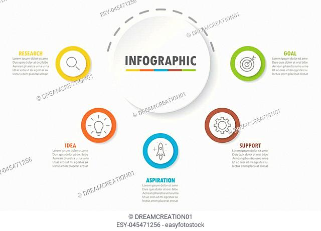 Vector Illustration of Modern Infographic fashion of five options