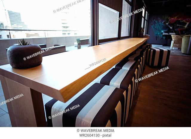 Modern table in cafeteria