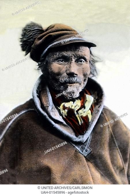 An old Sami from Lapland, image date: circa 1920. Carl Simon Archive