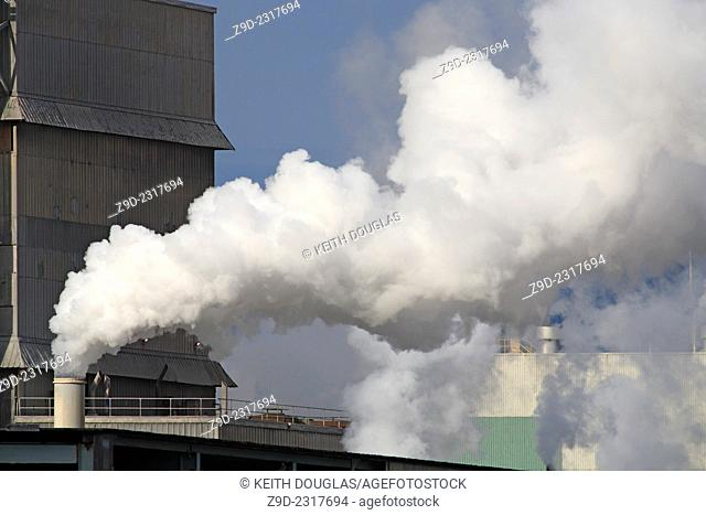 Emissions coming from the now defunct Eurocan Pulp and Paper mill, Kitimat, British Columbia